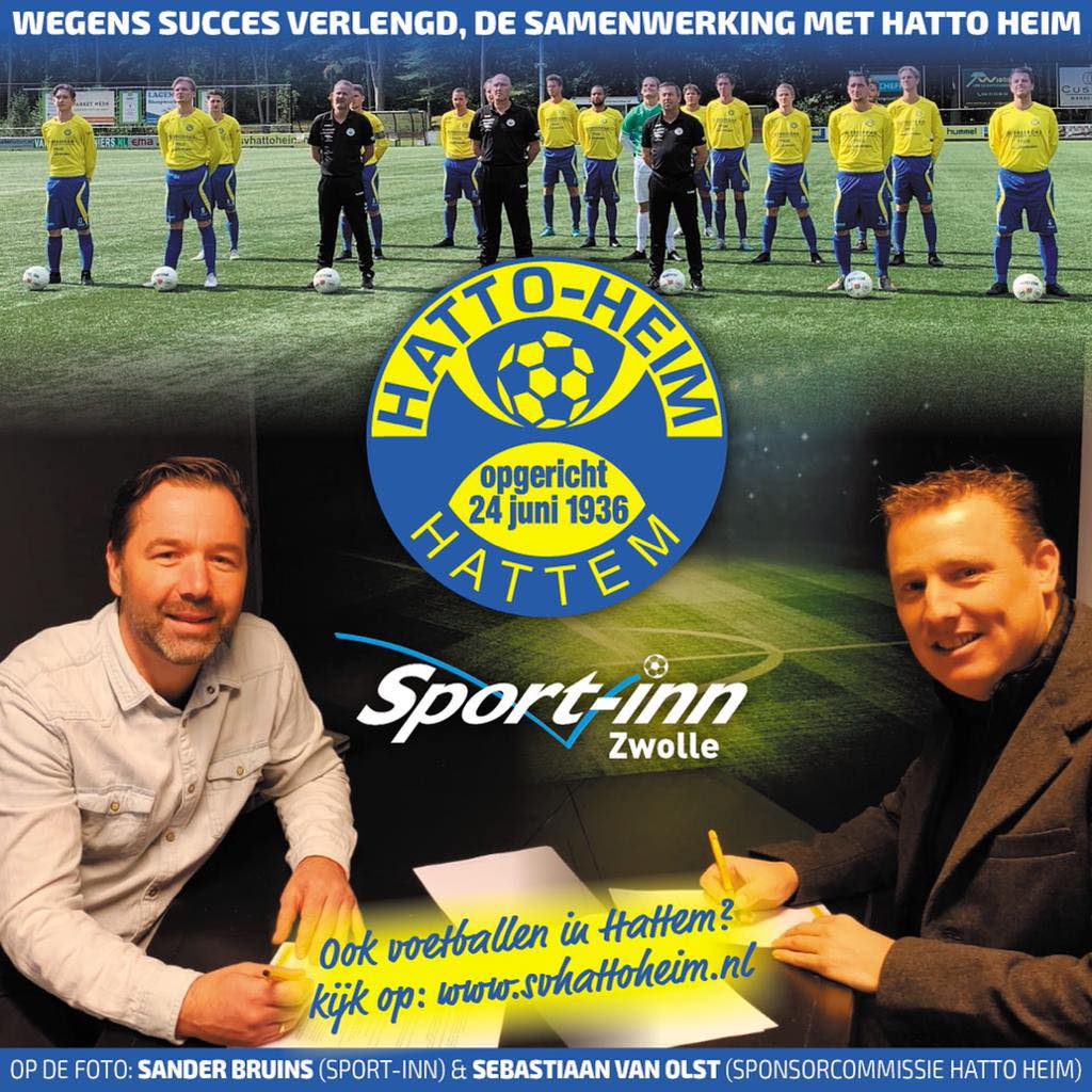 Sport-Inn Zwolle en sv Hatto-Heim verlengen samenwerking