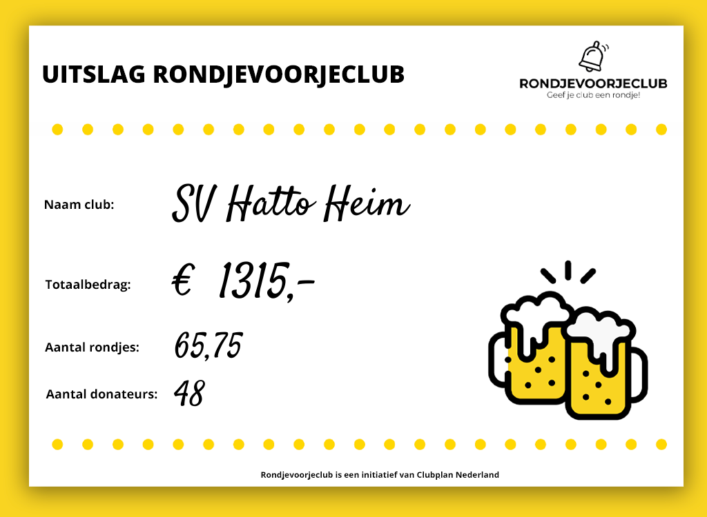 """De doneeractie van """"Rondje voor je club"""""""
